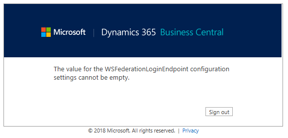 The value for the WSFederationLoginEndpoint configuration settings cannot be empty.