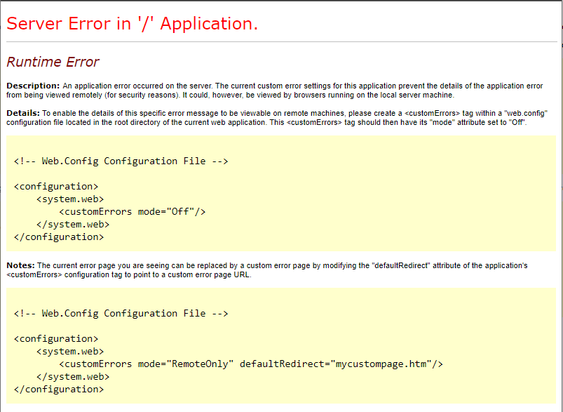 Server Error in '/' Application. Runtime Error